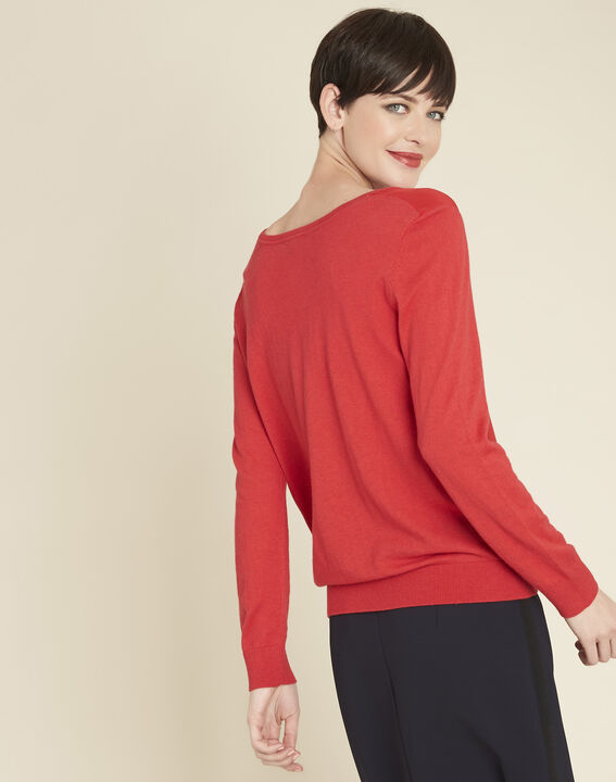 Bliss red dual-fabric sweater in cotton and silk with V-neckline (4) - 1-2-3
