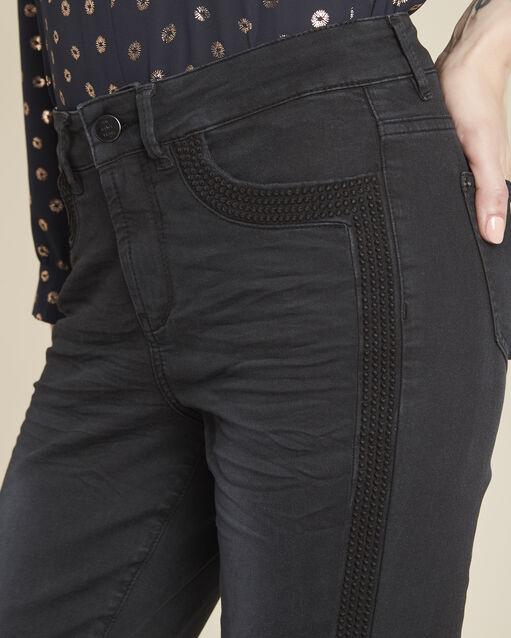 Jean noir droit bandes côtés Vivienne (2) - 1-2-3
