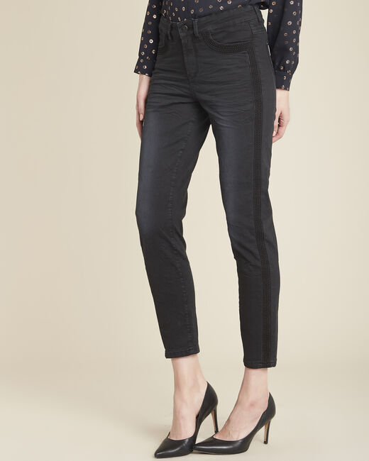 Vivienne black jeans with side stripes (1) - 1-2-3