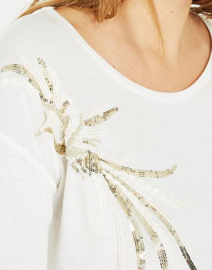 Tee-shirt écru oiseau sequins Beads (4) - 1-2-3