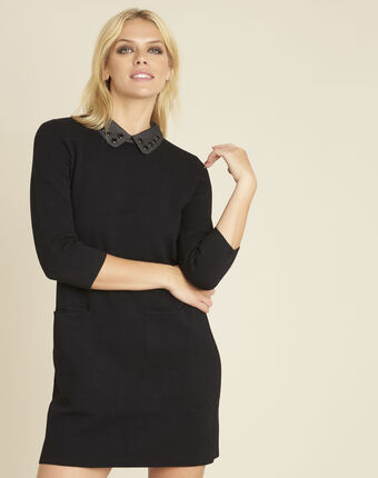 Zwarte jurk van tricot met fantasiehals barbara noir.
