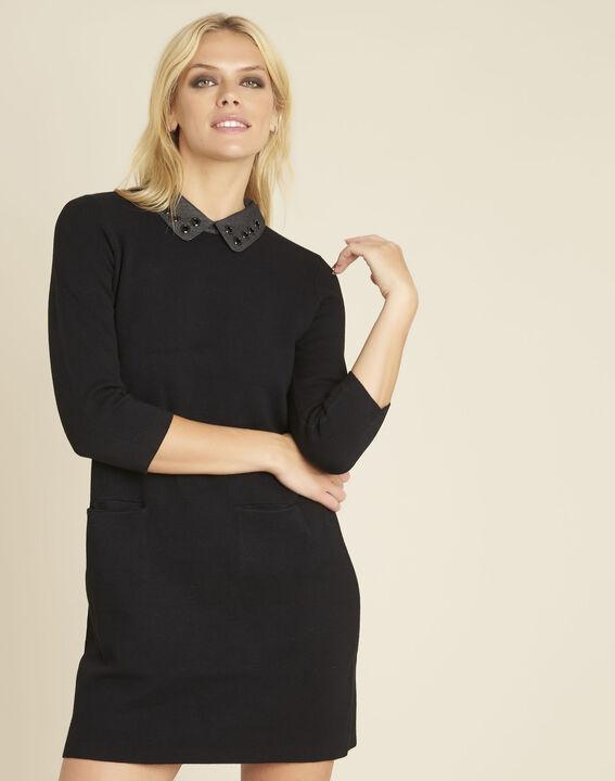 Zwarte jurk van tricot met fantasiehals Barbara PhotoZ | 1-2-3
