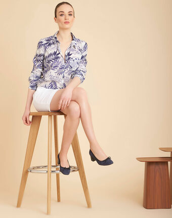 Ravel blue palm printed shirt in cotton blue.