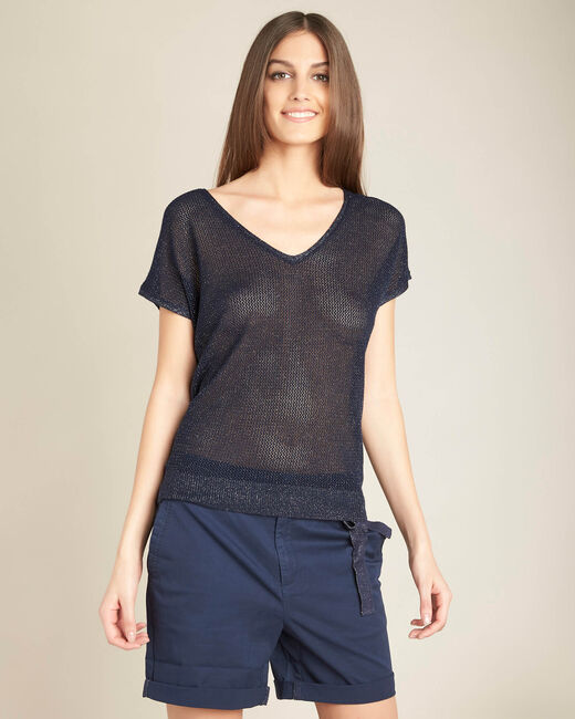 Noix short-sleeved fine-knit navy blue sweater (2) - 1-2-3