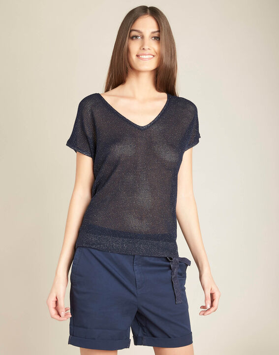 Noix short-sleeved fine-knit navy blue sweater (3) - 1-2-3