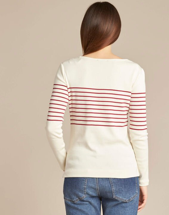 Escorteur striped red sweater with rounded neckline (4) - 1-2-3