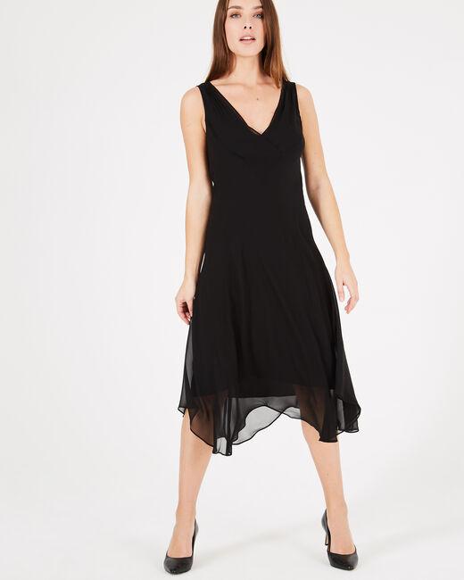 Schwungvolles langes schwarzes Kleid Foret (2) - 1-2-3