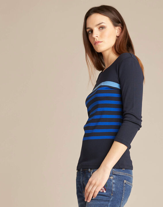 Emarine navy blue striped T-shirt with 3/4 sleeves (3) - 1-2-3