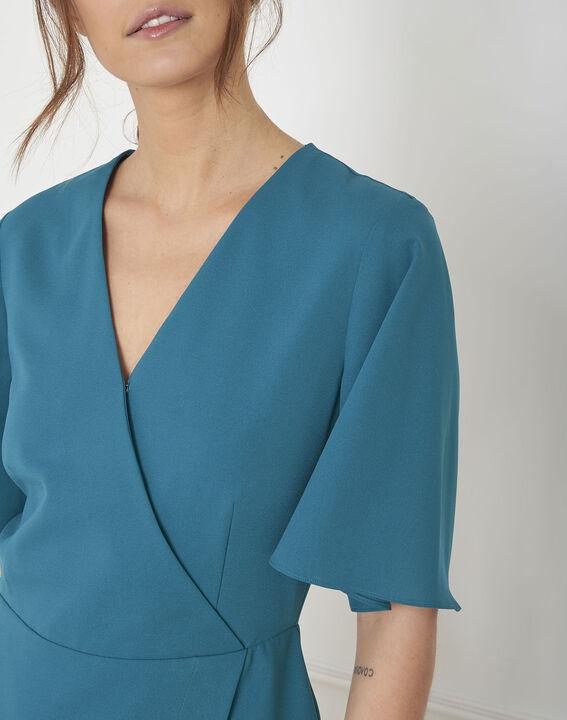 Robe bleue en crêpe portefeuille Harita (3) - Maison 123