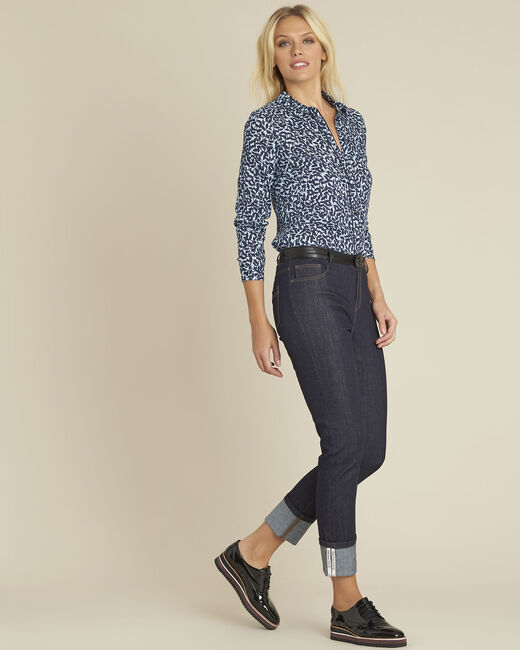 Vivienne navy straight cut jeans with turn-ups. (1) - 1-2-3