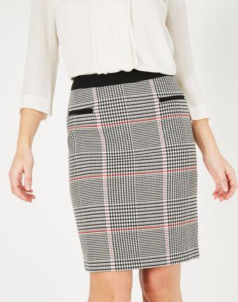 Jupe noir & blanc à carreaux filao noir/blanc.