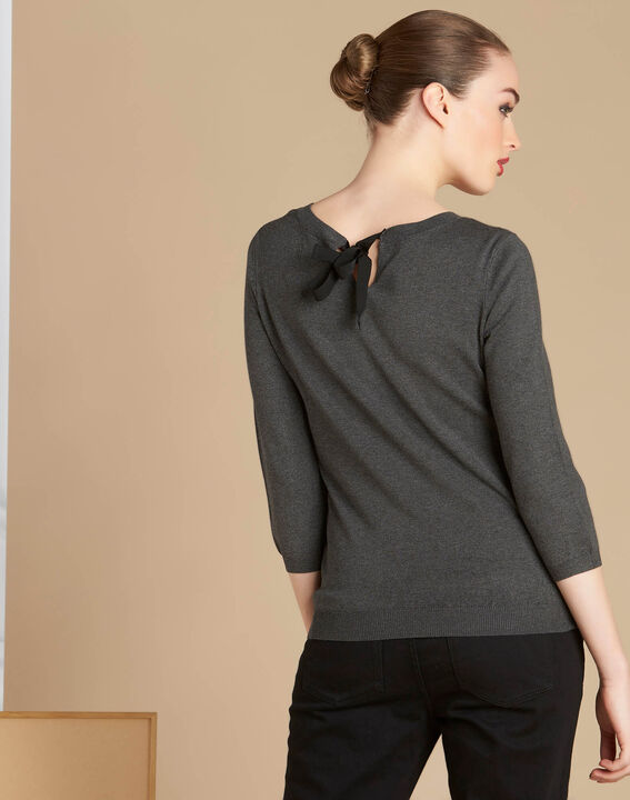 Nouba grey embroidered sweater with bow on the back (4) - 1-2-3