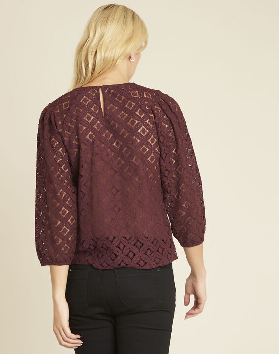 Caoula burgundy blouse in lace (4) - Maison 123