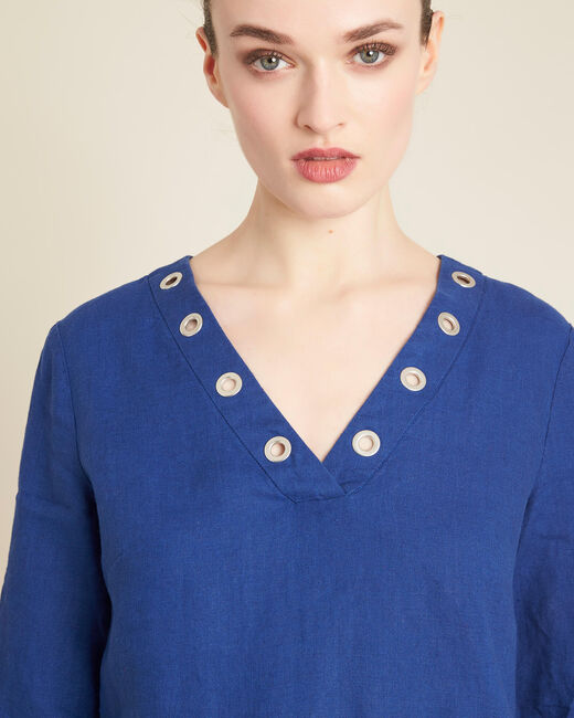 Pavot dark indigo linen dress with eyelets on the neckline (2) - 1-2-3