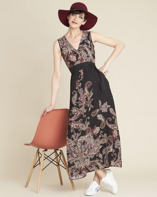 Lange jurk met kasjmierprint en ceintuur Dael (2) - 37653