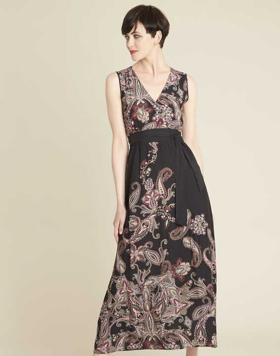 Langes Kleid mit Kaschmirprint und Gürtel Dael (1) - Maison 123