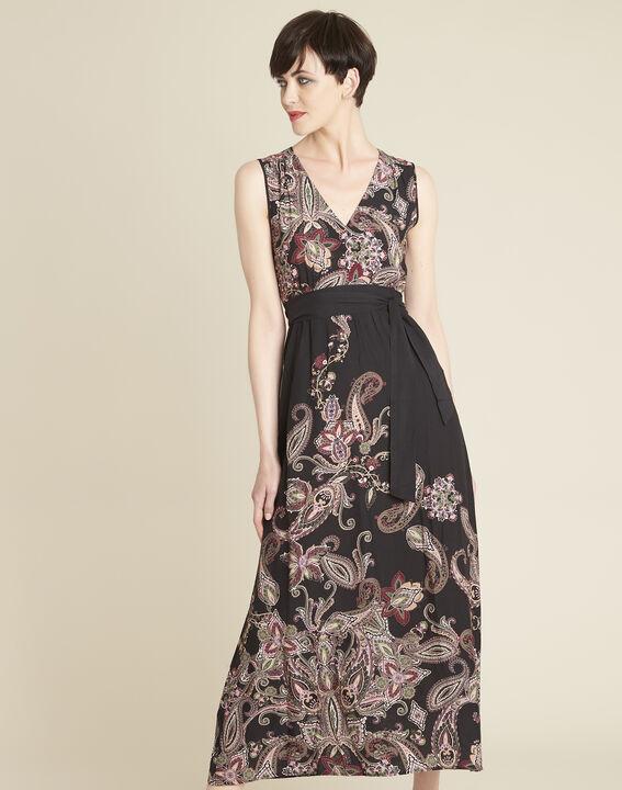 Dael long printed cashmere dress with belt PhotoZ | 1-2-3