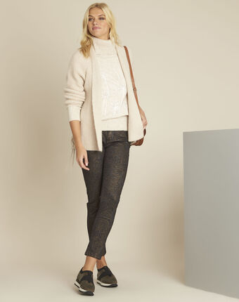 Blinis cream cardigan with side lacing beige.