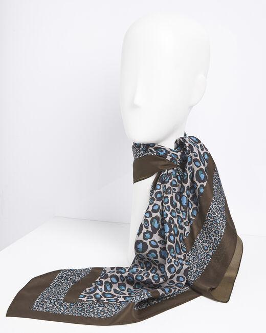 Carré de soie bleu imprimé léopard Felin (2) - 1-2-3