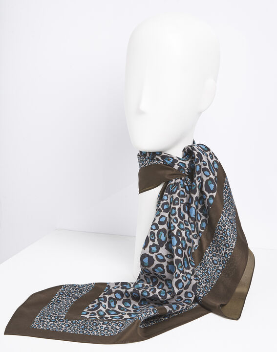 Felin blue leopard print silk square PhotoZ | 1-2-3