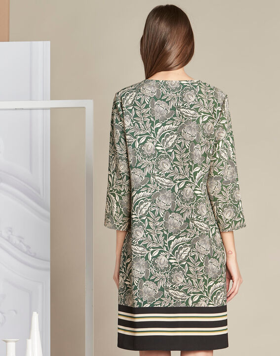 Khakifarbenes Kleid mit Blumenprint Parfaite (4) - 1-2-3