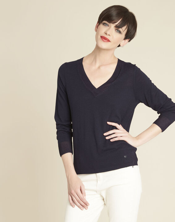 Bergamotte navy fine-knit sweater with V-neck (1) - Maison 123