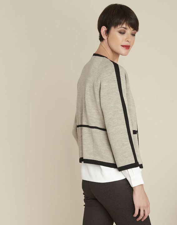 Mastic taupe cardigan with contrasting bias (4) - 1-2-3