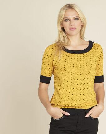 Pull jaune à pois bords cotes contrastés becca ocre.