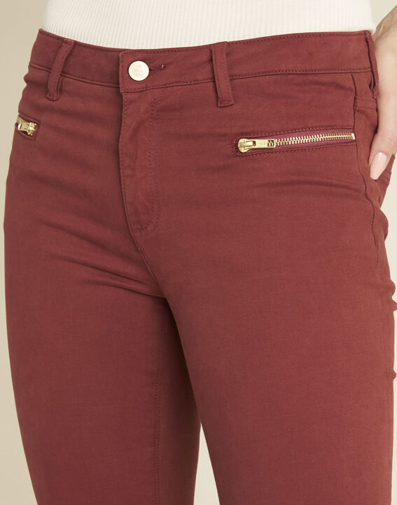 Germain mahogany straight-cut jeans with zipped pockets (4) - Maison 123