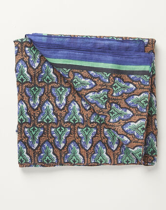 Amelia navy blue printed ottoman cotton scarf navy.