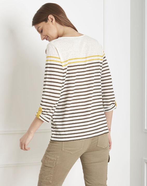 Tee-shirt écru rayé en lin Pise (4) - Maison 123