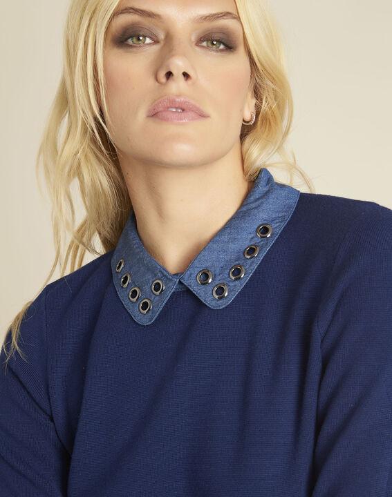 Blauwe trui met originele claudinekraag Bianca (3) - Maison 123