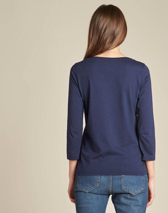 Marineblauw T-shirt met bloemenprint Enoopsy (4) - 37653