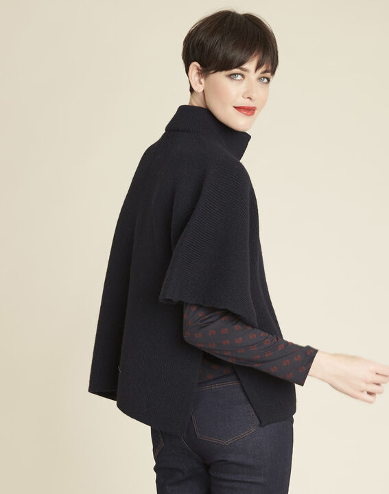 Bologne navy cape with high collar (4) - 1-2-3