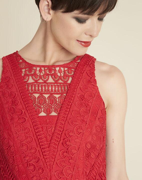 Robe rouge encolure dentelle Ibiza (2) - 1-2-3