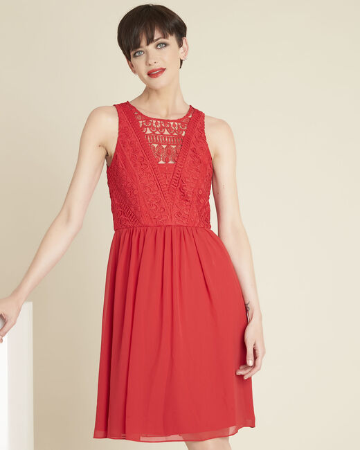 Ibiza red dress with lace at the neckline (2) - 1-2-3