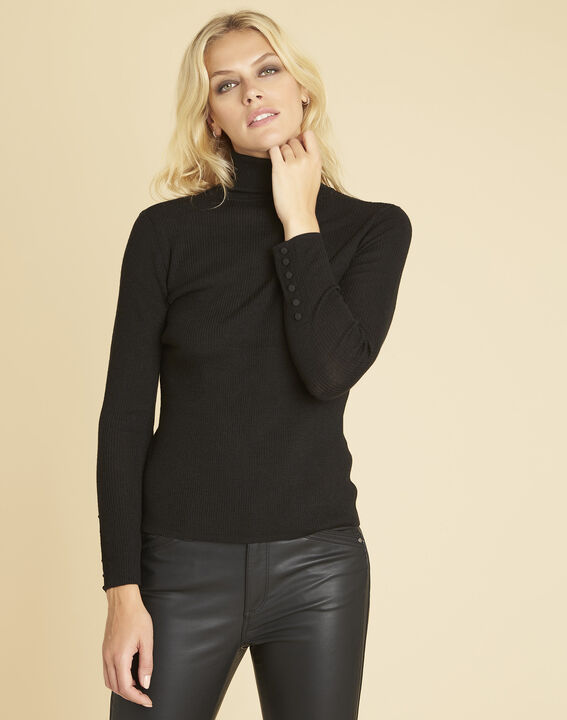 Basile black polo neck sweater in a fine knit (1) - Maison 123