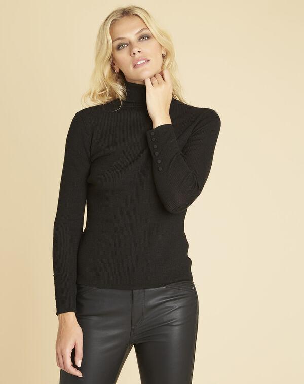 Zwarte trui van dun tricot met rolkraag Basile (1) - 37653