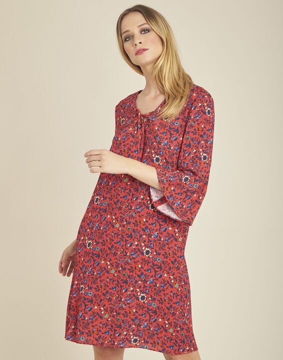 Deborah pink printed dress with lacing and pagoda sleeves (1) - 1-2-3