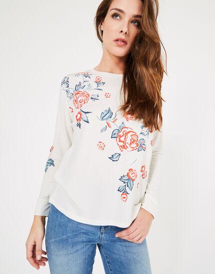 Tee-shirt écru manches longues imprimé Bisou (3) - 1-2-3