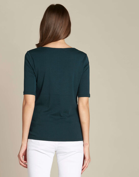 Ecume dark green T-shirt with studded detailing on the shoulders (4) - 1-2-3