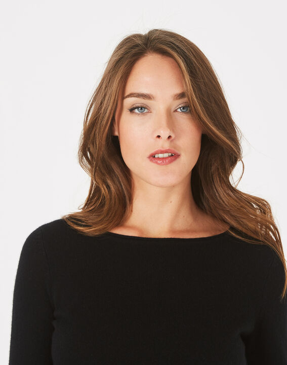 Pull noir col rond cachemire Petunia (3) - 1-2-3