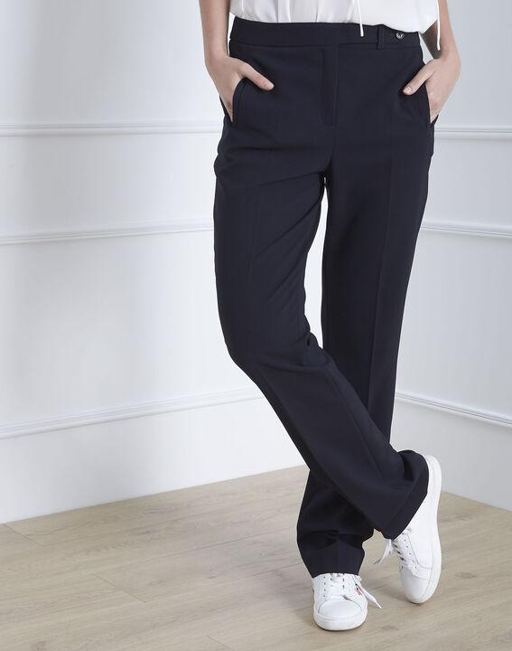 Pantalon marine droit en microfibre à ceinture boutonnée Hugo (1) - Maison 123