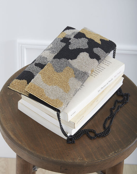Khakifarbene Tasche mit Perlenbesatz Ussel (2) - Maison 123