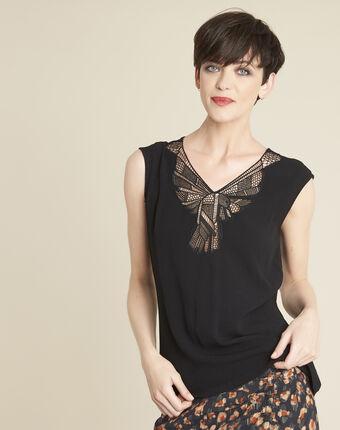 Colline black blouse with romantic neckline black.