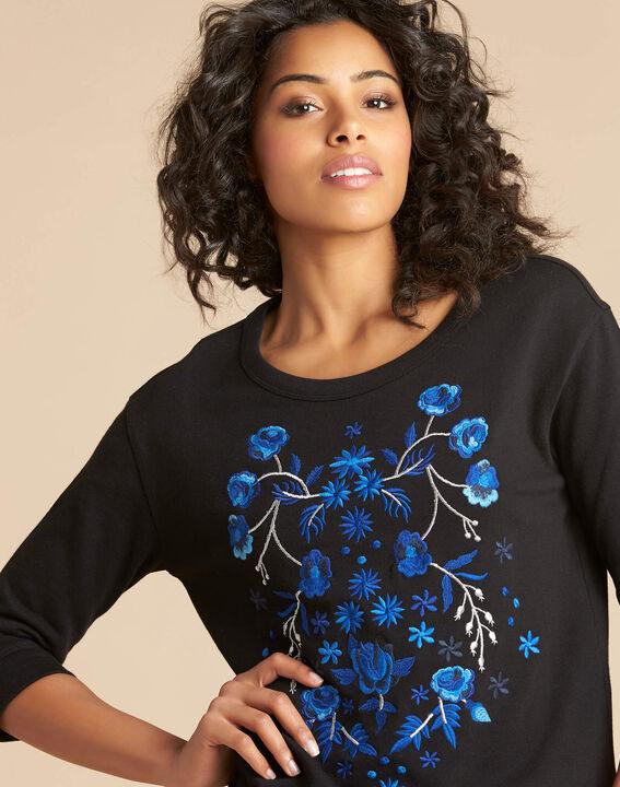 Zwarte geborduurde sweater met driekwartmouwen Eldorado PhotoZ | 1-2-3