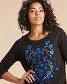 Zwarte geborduurde sweater met driekwartmouwen Eldorado (1) - 37653