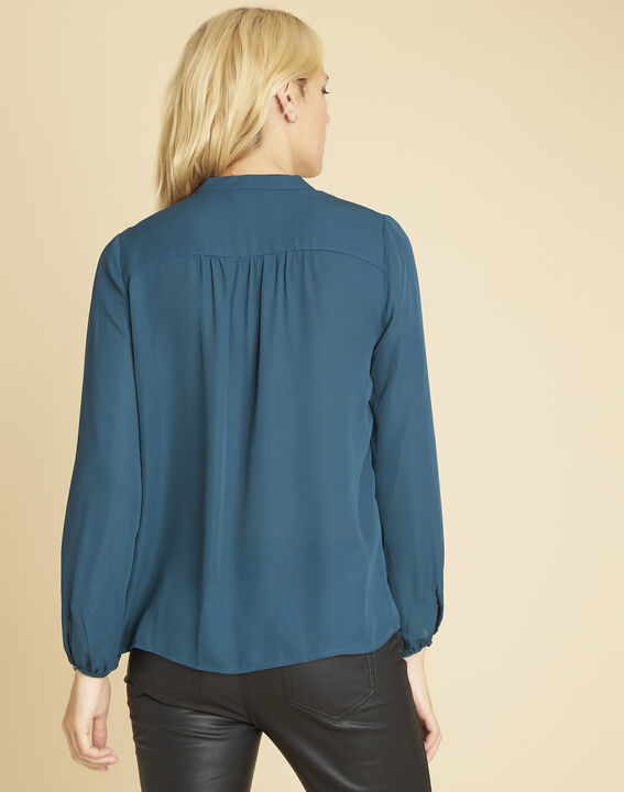 Cheryl emerald blouse with lacing and eyelets on the neckline (4) - 1-2-3