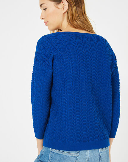 Pop royal blue sweater with stunning stitchwork (4) - 1-2-3