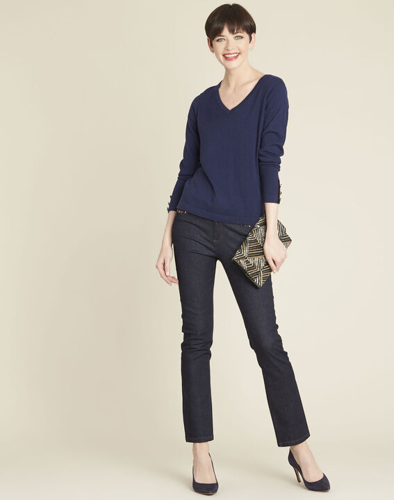 Beth navy cotton mix pullover with narrow V-neckline (2) - 1-2-3